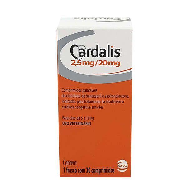 Cardalis Ceva 30 Comprimidos para Cães 2,5mg/20mg Cães de 5 a 10 Kg