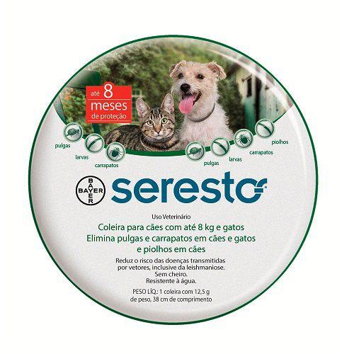 Coleira Antipulgas e Carrapatos Bayer Seresto Cães e Gatos até 8 Kg