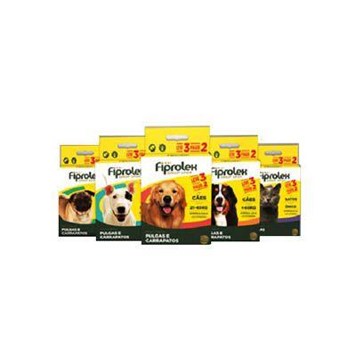 Combo Antipulgas Fiprolex Cães até 10kg Ceva 3 Pipetas