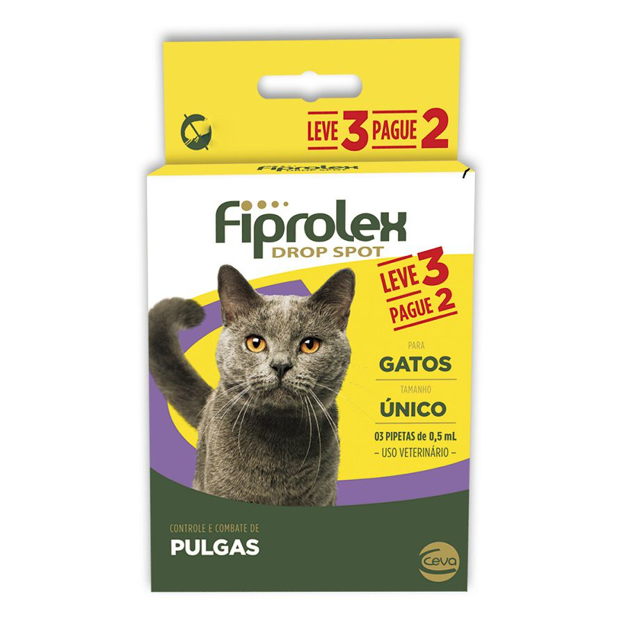 Combo Antipulgas Fiprolex Gatos 0,5ml Ceva 3 Pipetas