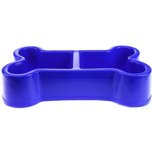 Comedouro Duplo Chalesco Plástico Formato Osso 32cm - Azul