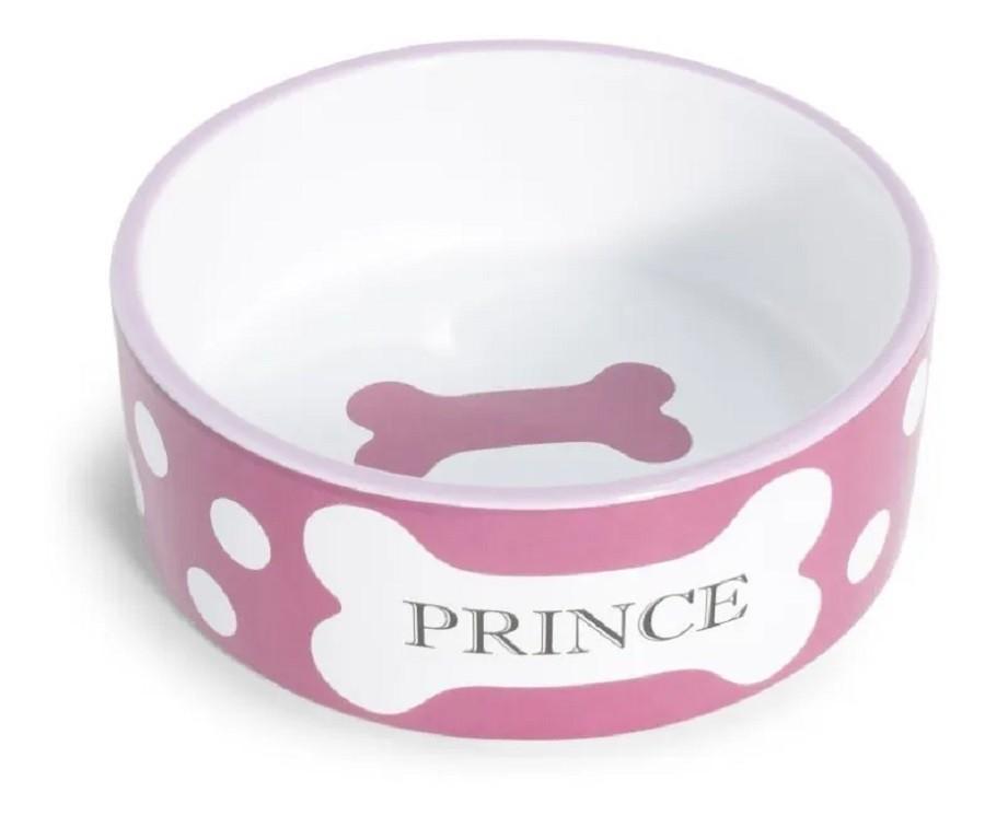 Comedouro em Porcelana Cão Princesa Rosa Médio 750ml