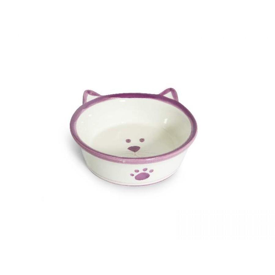 Comedouro em Porcelana Gato Rosa Carinha 350 ml