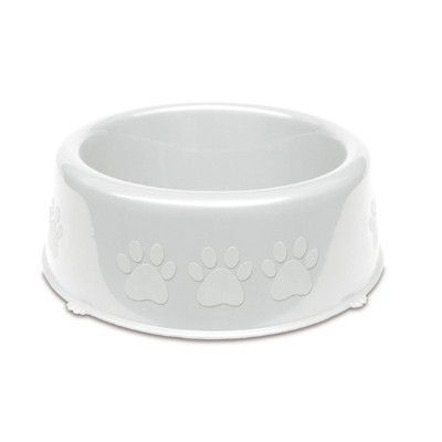 Comedouro Pet Injet Plastico Patinhas Pequenas Racas 600ml - Branco