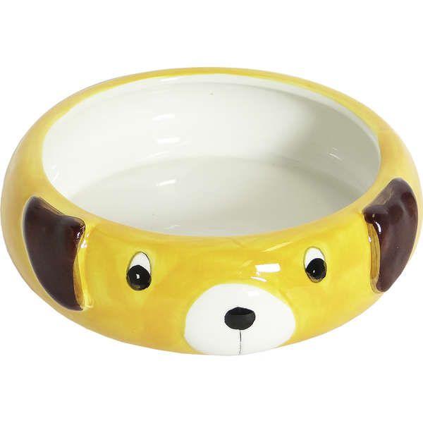 Comedouro Porcelana Power Pets Cão Amarelo
