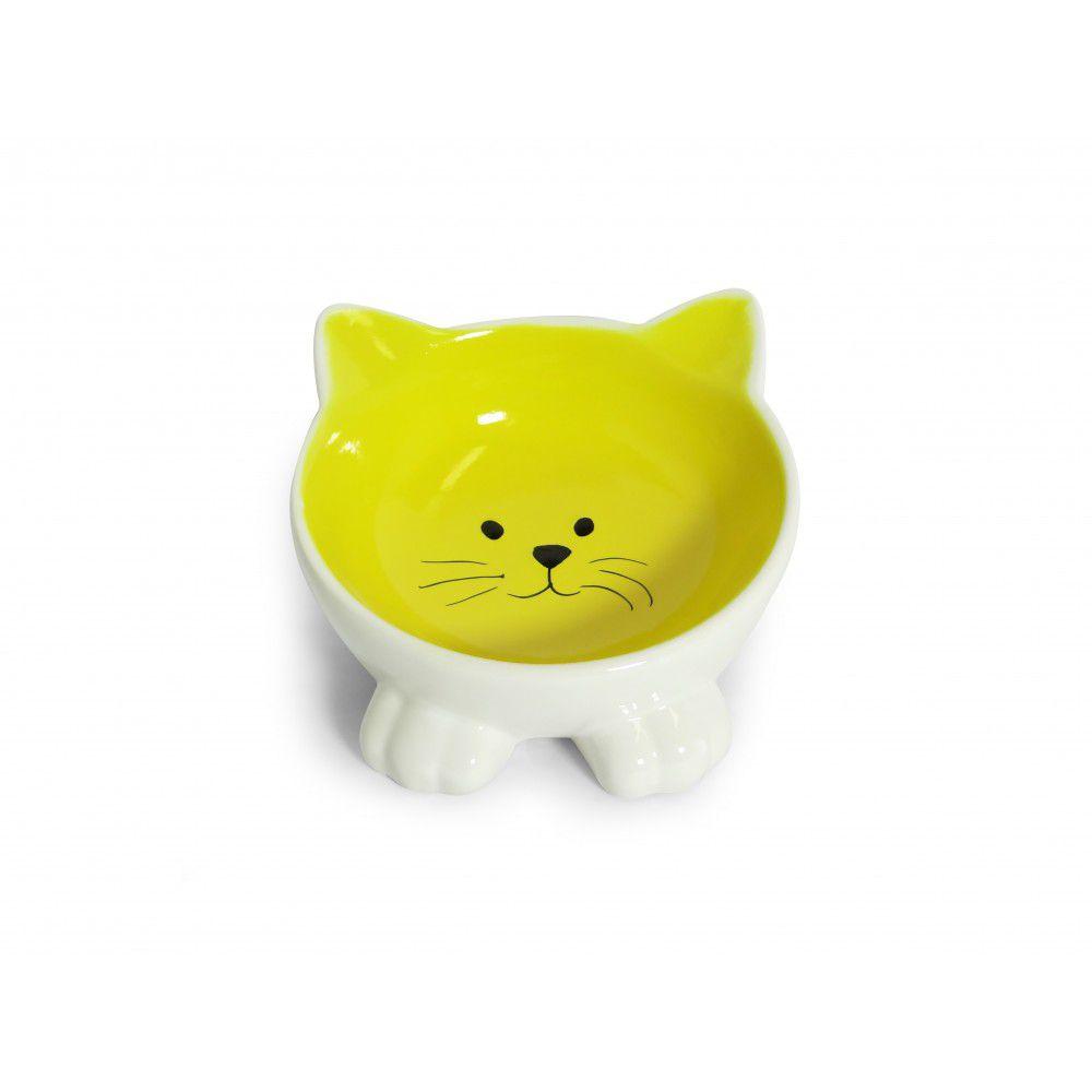 Comedouro Porcelana Power Pets Gato Amarelo