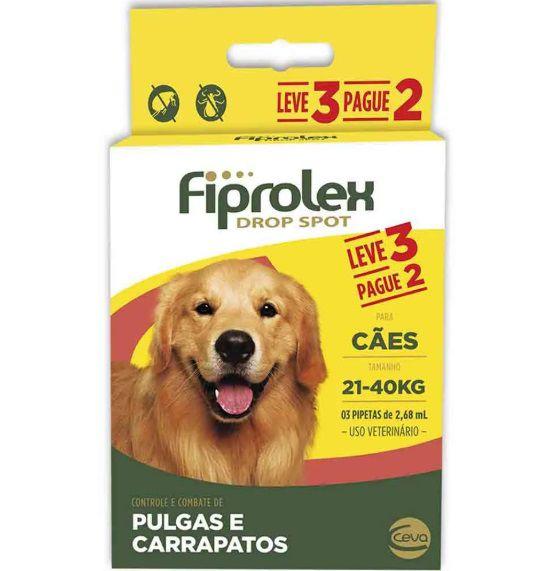 Combo Antipulgas Fiprolex Cães 21 a 40kg Ceva 3 Pipetas