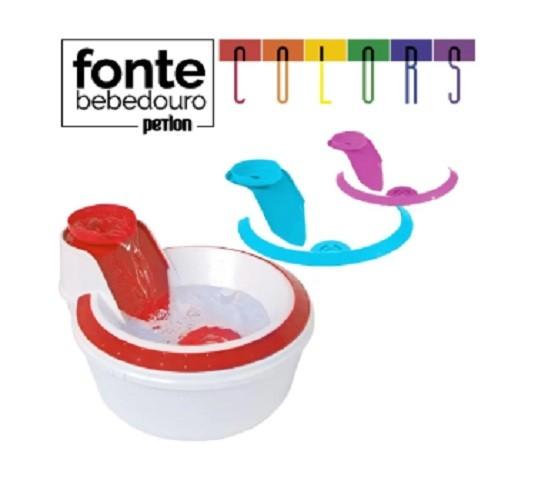 Fonte Bebedouro Gatos Petlon Kit 2(Azul, Lilás e Vermelho) 220V
