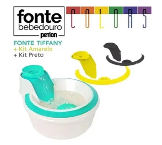 Fonte Bebedouro Gatos Petlon Kit 3(Preto, Verde e Amarelo) 220V