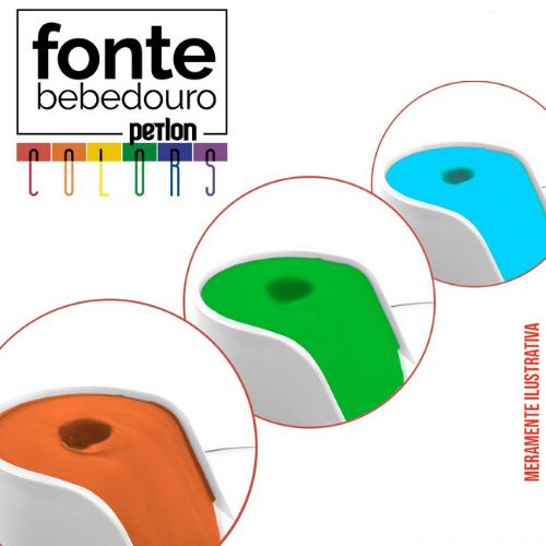 Fonte Bebedouro Gatos Petlon Kit 4(Laranja, Verde e Azul) 110V