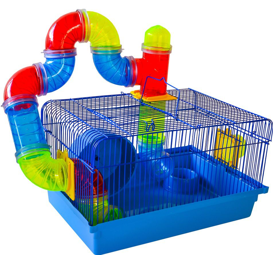 Gaiola Hamster Tubos Coloridos 38cm x 26cm x 22cm