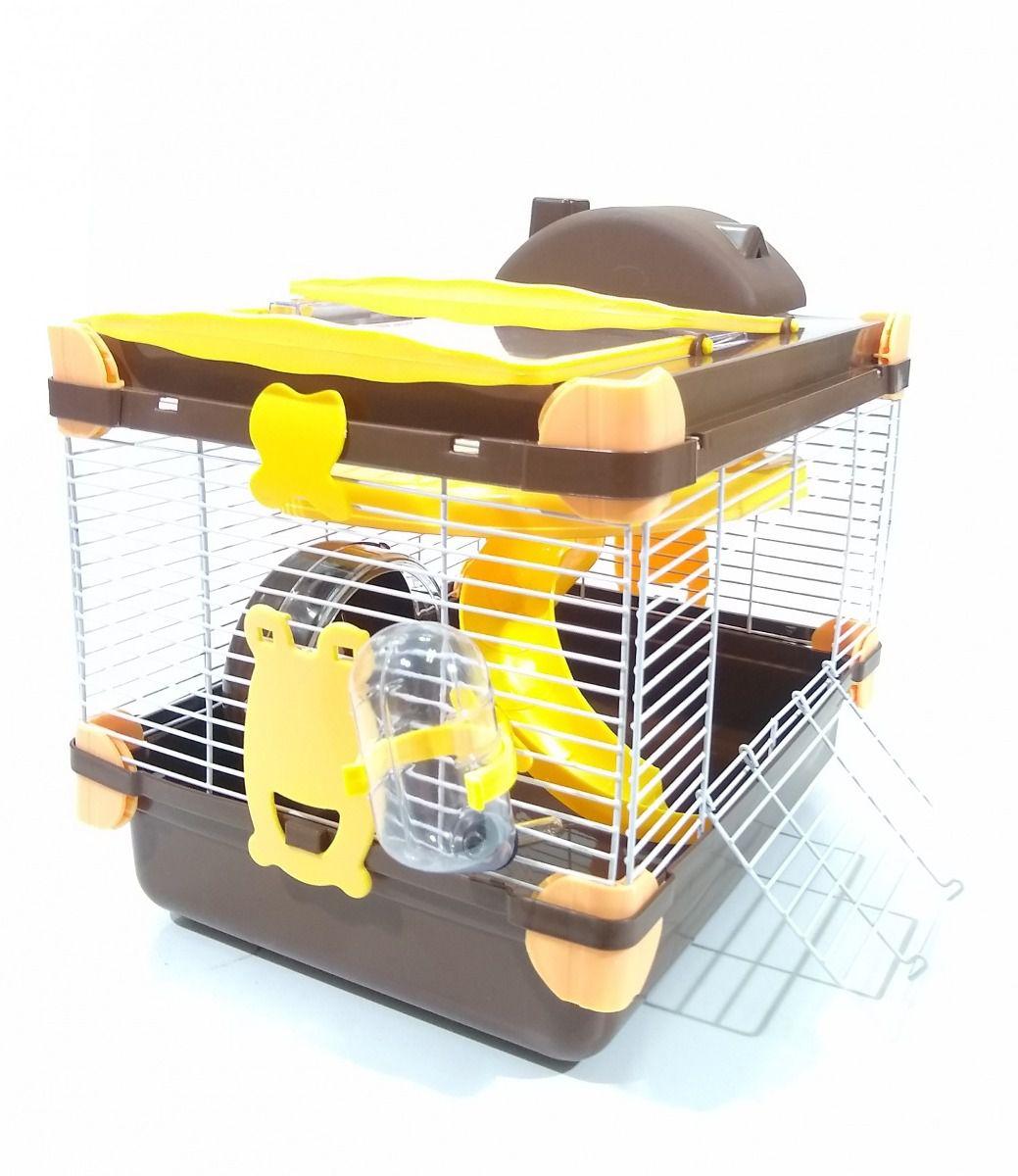 Gaiola Hamster Vip Acrílico Completa Marrom 24cm x 30cm x 24cm