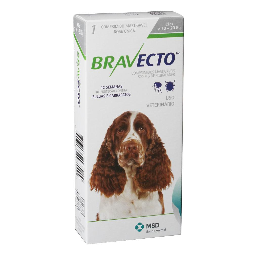 Kit 2 Anti Pulgas e Carrapatos Bravecto para Cães de   10 a 20kg - 500mg