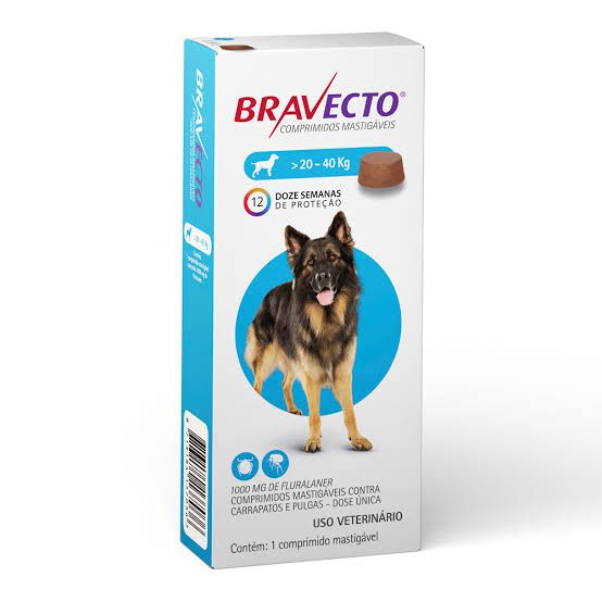 Kit 3  Anti Pulgas e Carrapatos Bravecto para Cães de 20 a 40kg - 1000mg