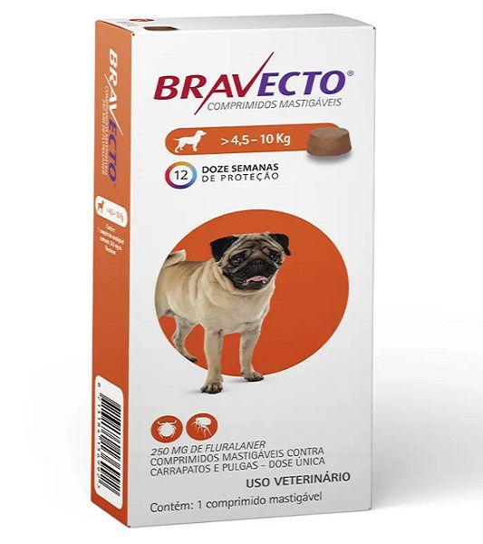 Kit 3  Anti Pulgas e Carrapatos Bravecto para Cães de 4,5 a 10kg - 250mg