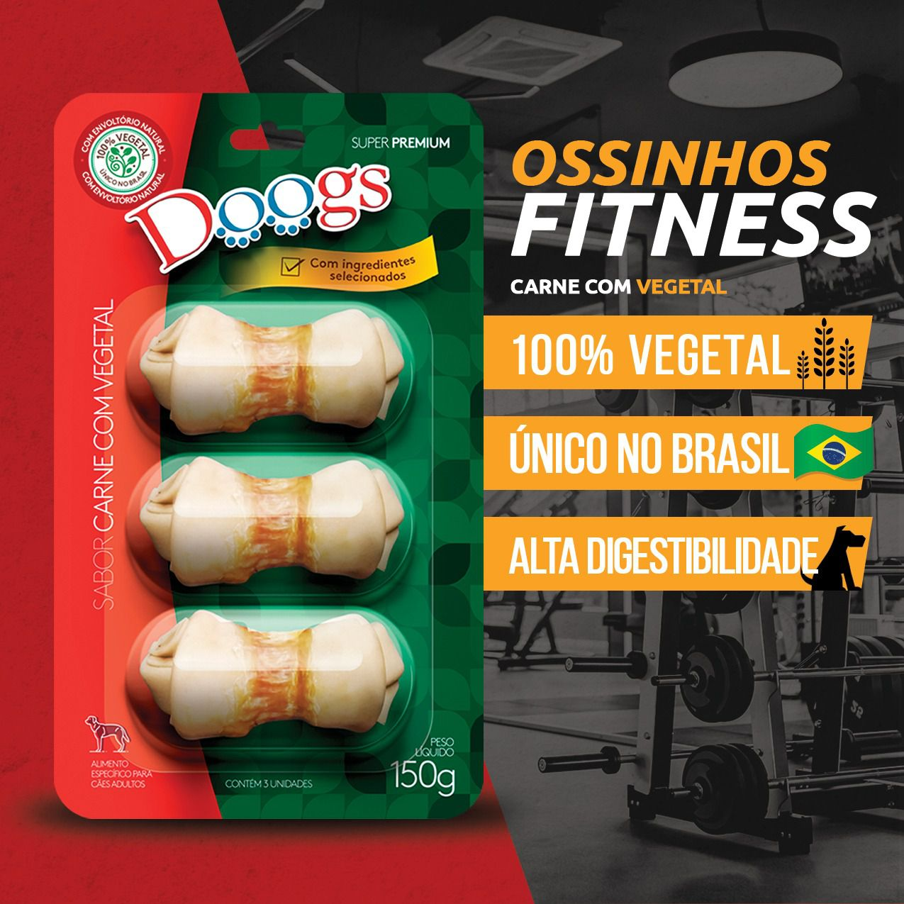 Kit 3 Petisco Ossinho Doogs Carne Com Vegetal 150g