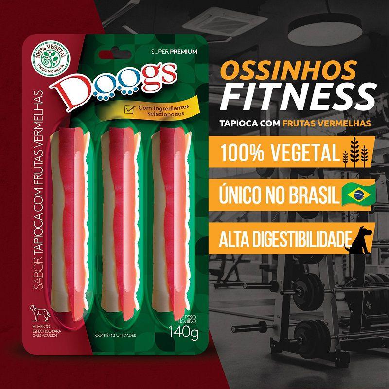 Kit 3 Petisco Roll Doogs Tapioca Com Frutas Vermelhas 140g