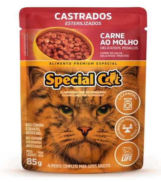 Kit com 12 Ração Úmida Special Cat Sachê Carne Gatos Castrados 85Gr