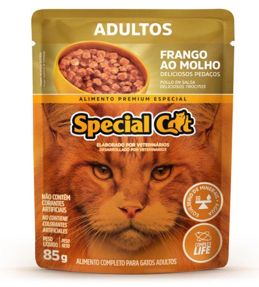 Kit com 12 Ração Úmida Special Cat Sachê Frango Gatos Adultos 85Gr