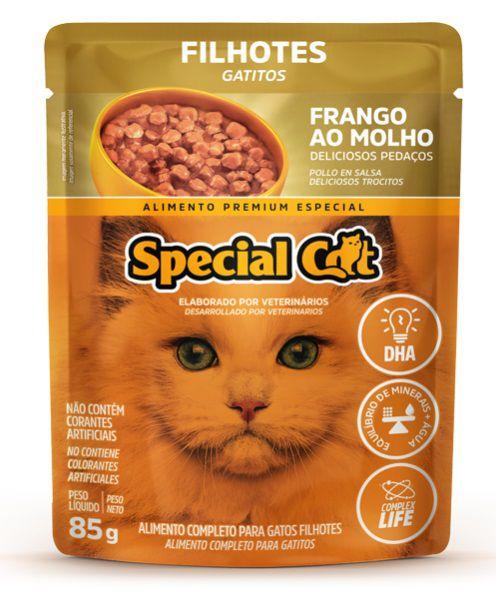 Kit com 12 Ração Úmida Special Cat Sachê Frango Gatos Filhote 85Gr