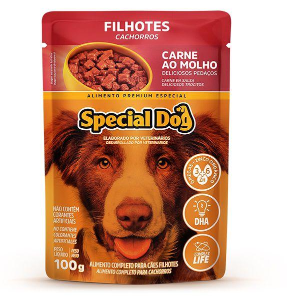 Kit com 12  Ração Úmida Special Dog Sachê Carne Cães Filhotes 100Gr