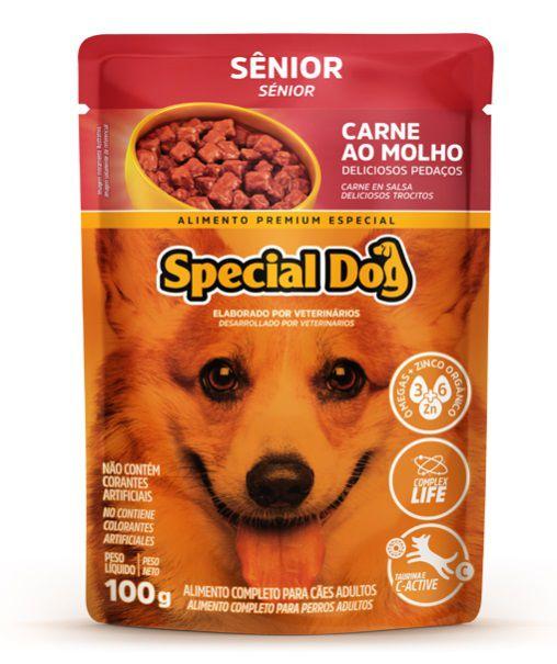 Kit com 12 Ração Úmida Special Dog Sachê Carne Cães Senior 100Gr