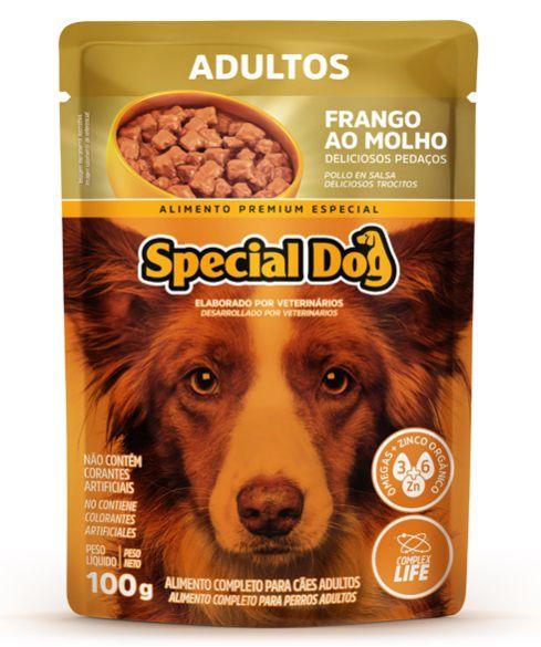 Kit com 12 Ração Úmida Special Dog Sachê Frango Cães Adultos 100Gr