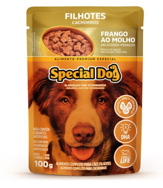 Kit com 12 Ração Úmida Special Dog Sachê Frango Cães Filhotes 100Gr