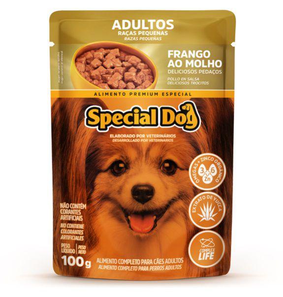 Kit com 12 Ração Úmida Special Dog Sachê Frango Cães Racas Pqna Adultos 100g