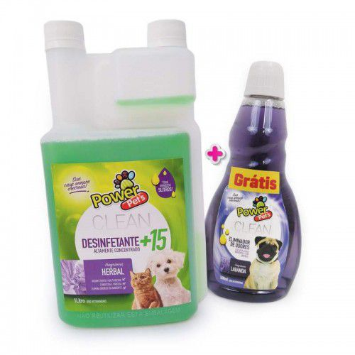 Kit Desinfetante Power Pets 1l E Eliminador Lavanda 500ml
