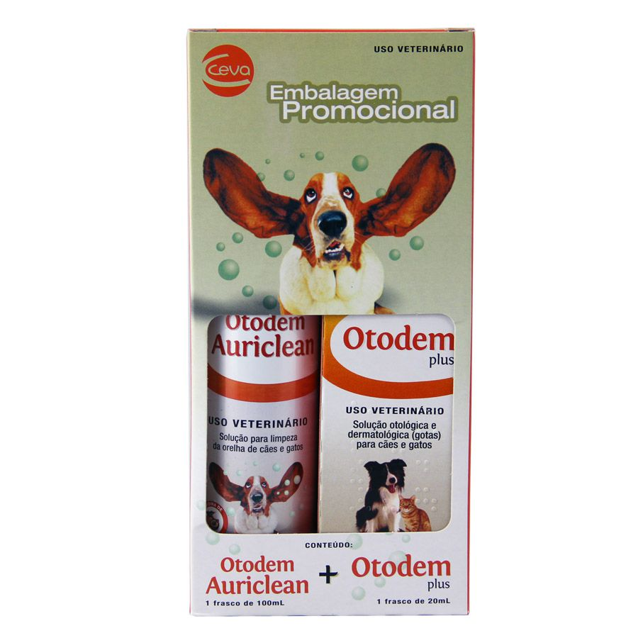 Kit Otodem Plus + Otodem Auriclean Ceva Otites Cães e Gatos