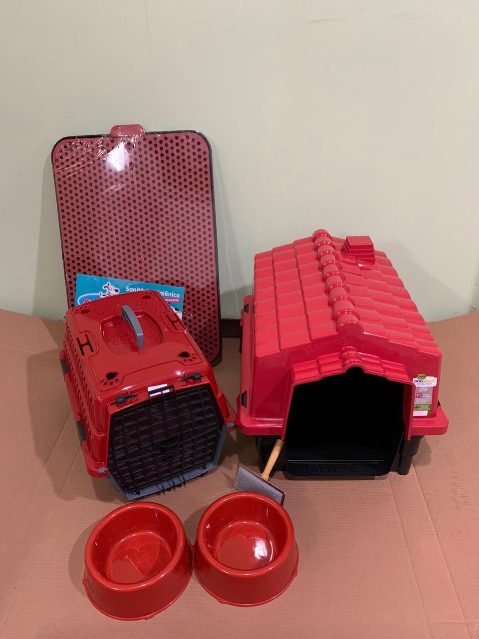 Kit Para Cães Pequenos Vermelho Completo Promoção