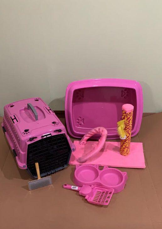 Kit Para Gato Completo Pequeno Rosa Promoção
