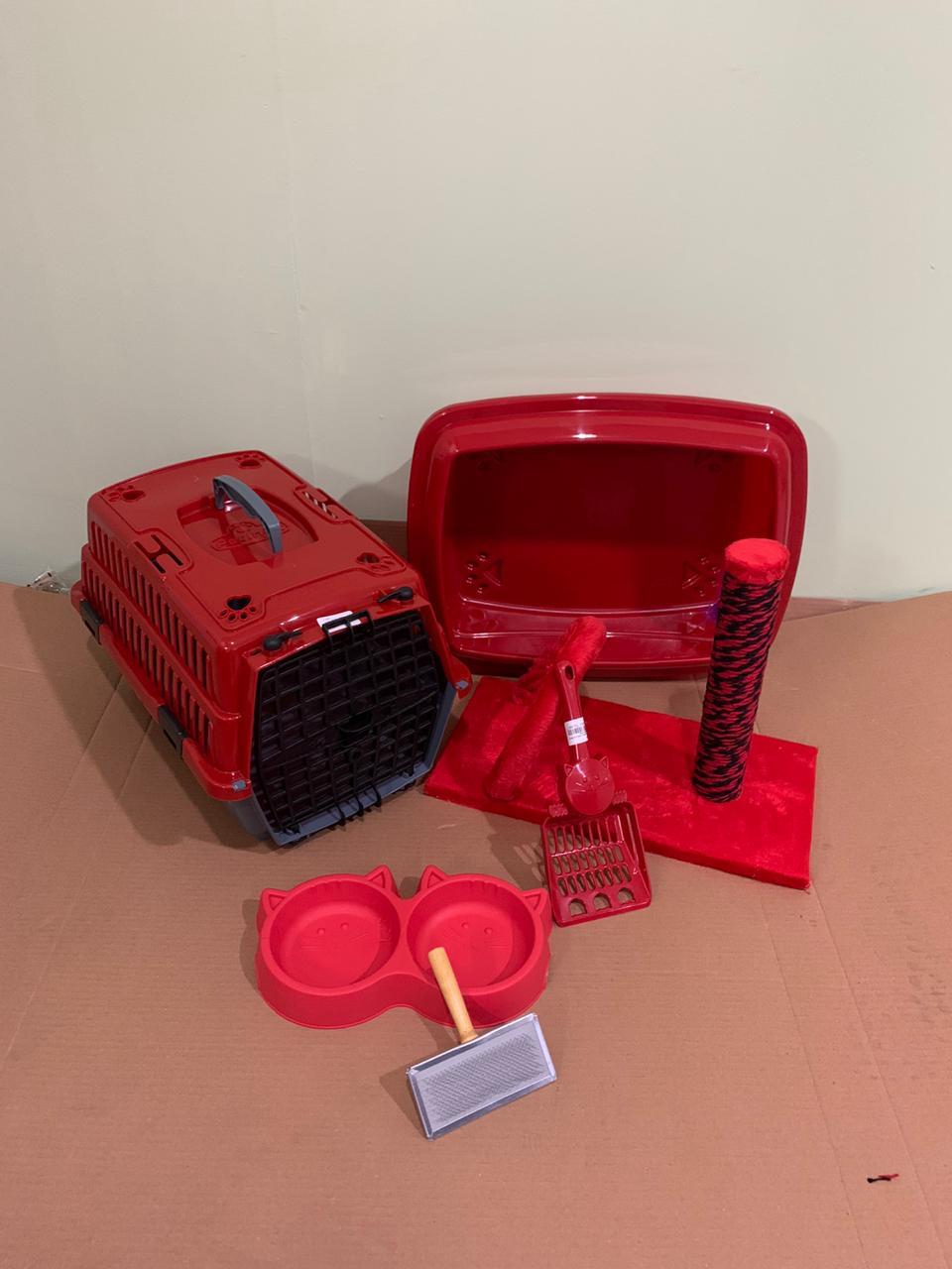 Kit Para Gato Completo Pequeno Vermelho Promoção