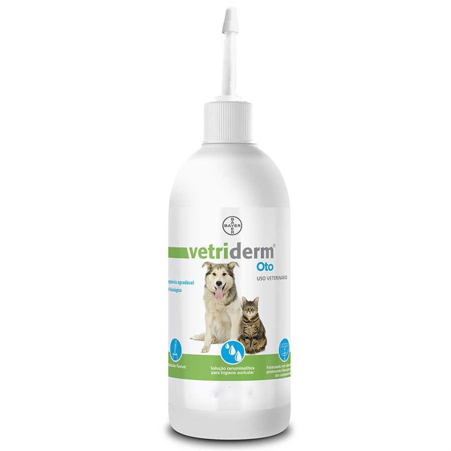 Limpador Auricular Bayer Vetriderm Oto para Cães e Gatos 100ml
