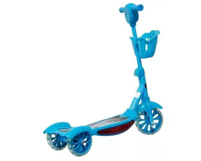 Patinete Infantil 3 Rodas Musical Luzes Cesta Azul
