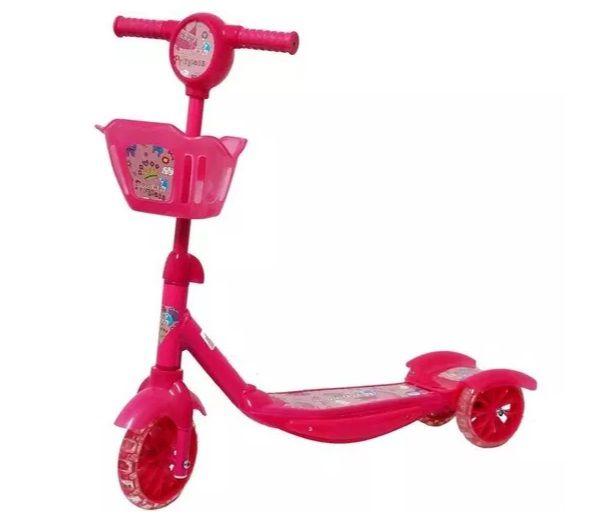 Patinete Infantil 3 Rodas Musical Luzes Cesta Rosa