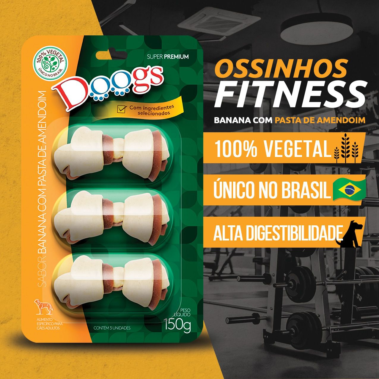Kit 3 Petisco Ossinho Doogs Banana e Pata de Amendoim 150g