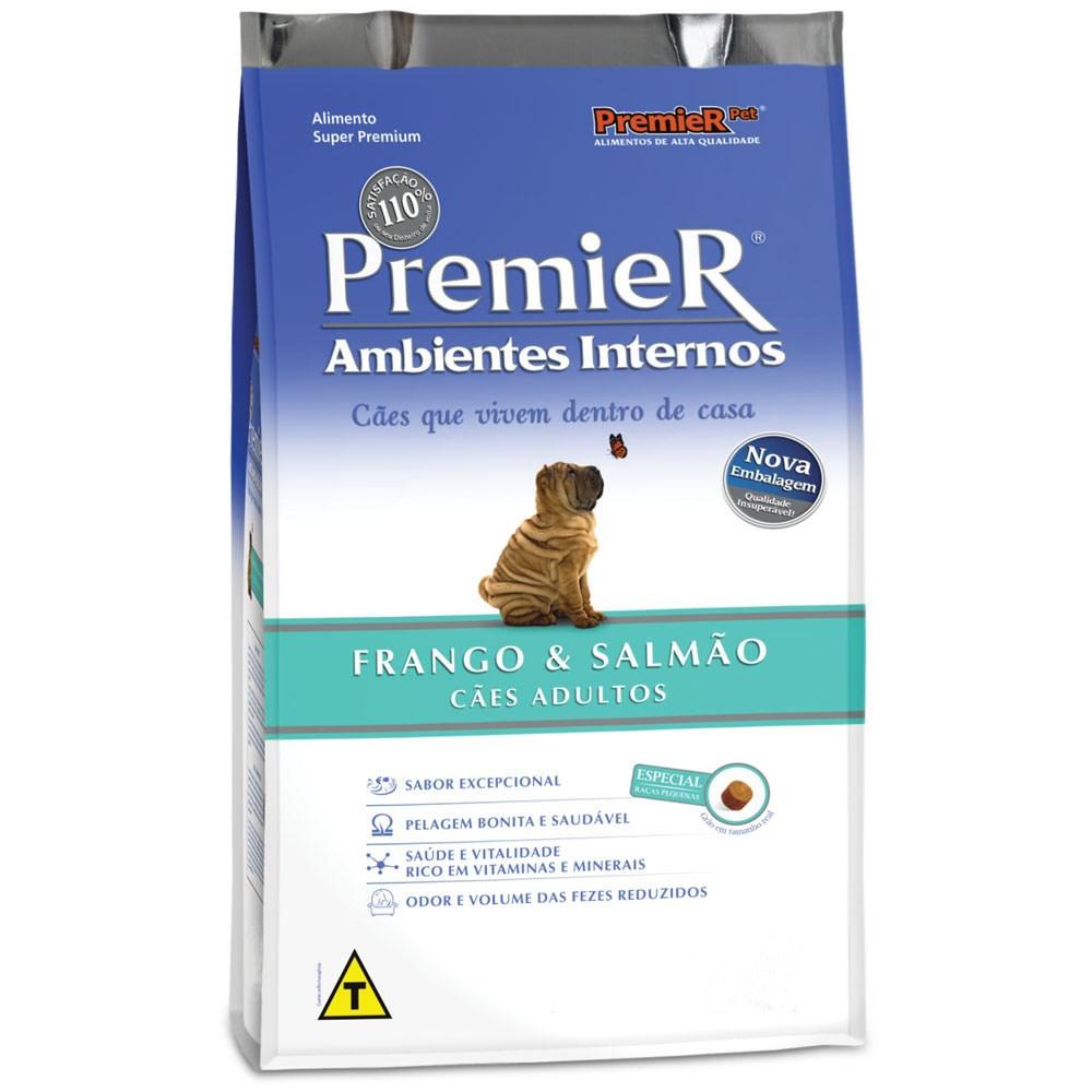 Ração Premier Cães Adultos Ambientes Internos Frango e Salmão 1 Kg