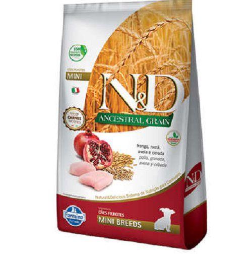 Ração Farmina N&D Ancestral Grain Frango Filhote Adultos Raças Pequenas 2,5kg