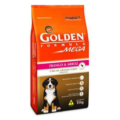 Ração Golden Mega Cães Filhotes Frango e Arroz Raças Grandes - 15 KG