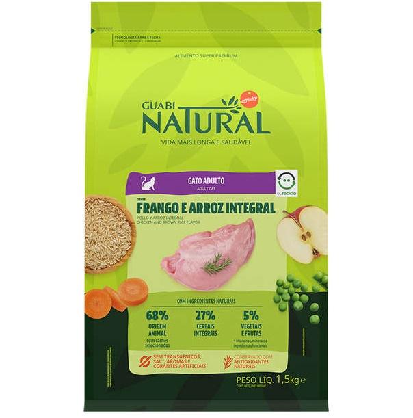 Ração Guabi Natural Frango e Arroz Integral Gatos Adultos 1,5kg
