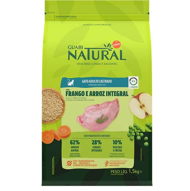 Ração Guabi Natural Frango e Arroz Integral Gatos Adultos Castrados 1,5kg
