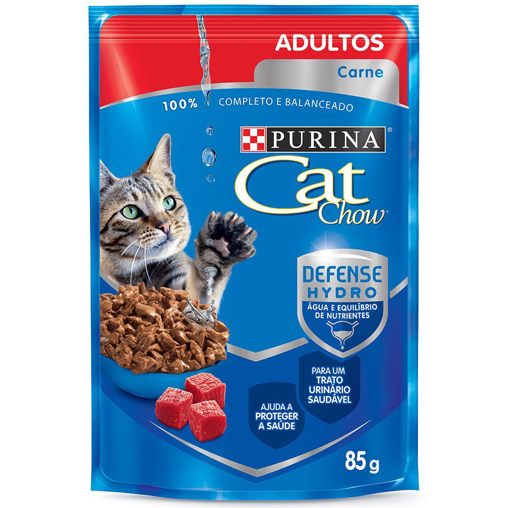 Ração Nestlé Purina Cat Chow Adultos Sachê Carne 85g