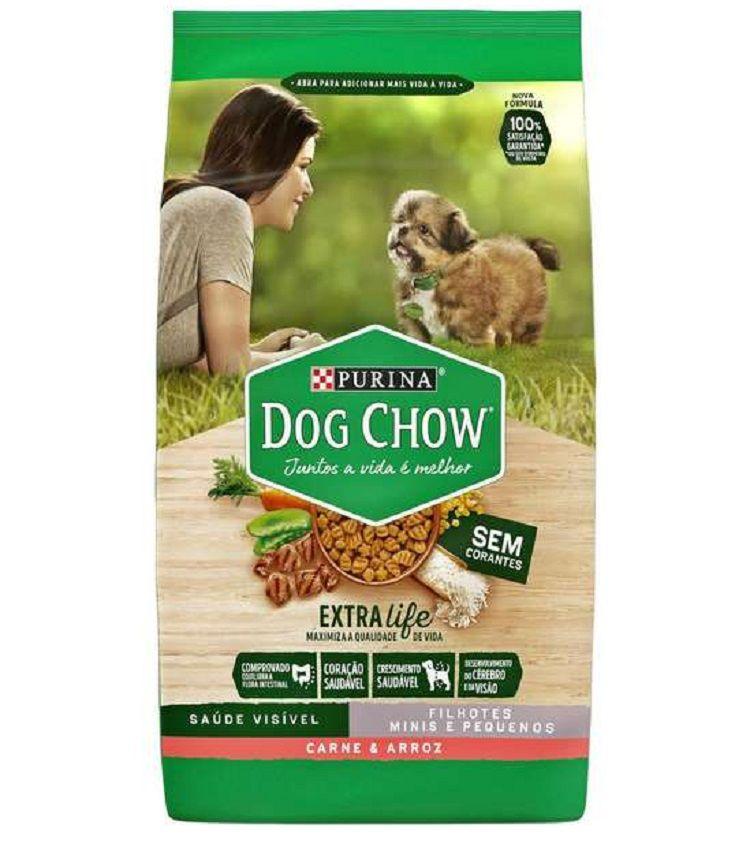 Ração Nestlé Purina Dog Chow Cães Filhotes Raças Pequenas Carne e Arroz 15kg