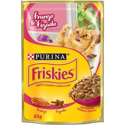 Ração Nestlé Purina Friskies Sachê Frango e Fígado ao Molho para Gatos 85gr