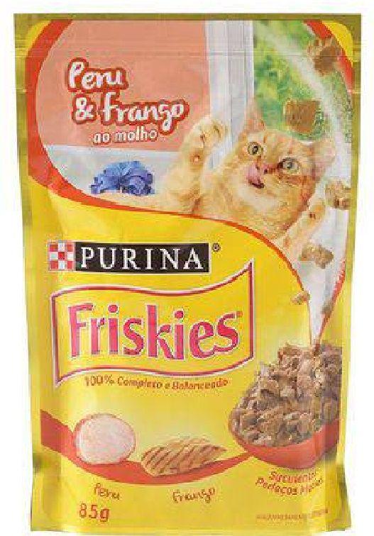 Ração Nestlé Purina Friskies Sachê Peru e Frango ao Molho para Gatos 85gr