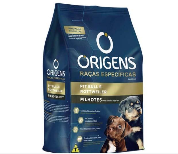 Ração Origens Cães Filhotes Pit Bull e Rottweiler 15kg