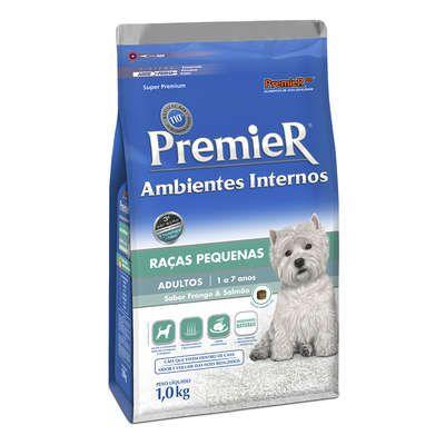Ração Premier Ambientes Internos Cães Adultos Frango e Salmão - 1 KG