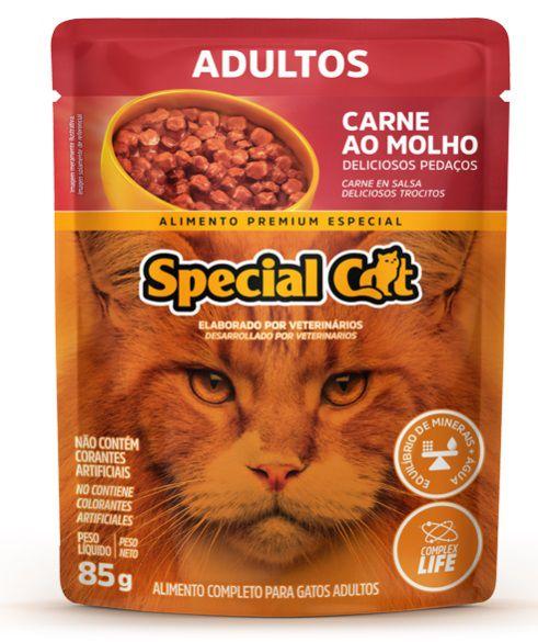 Ração Úmida Special Cat Sachê Carne Gatos Adultos 85Gr